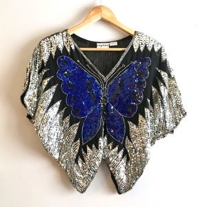 Vintage Sequin Butterfly Sparkly Crop Top